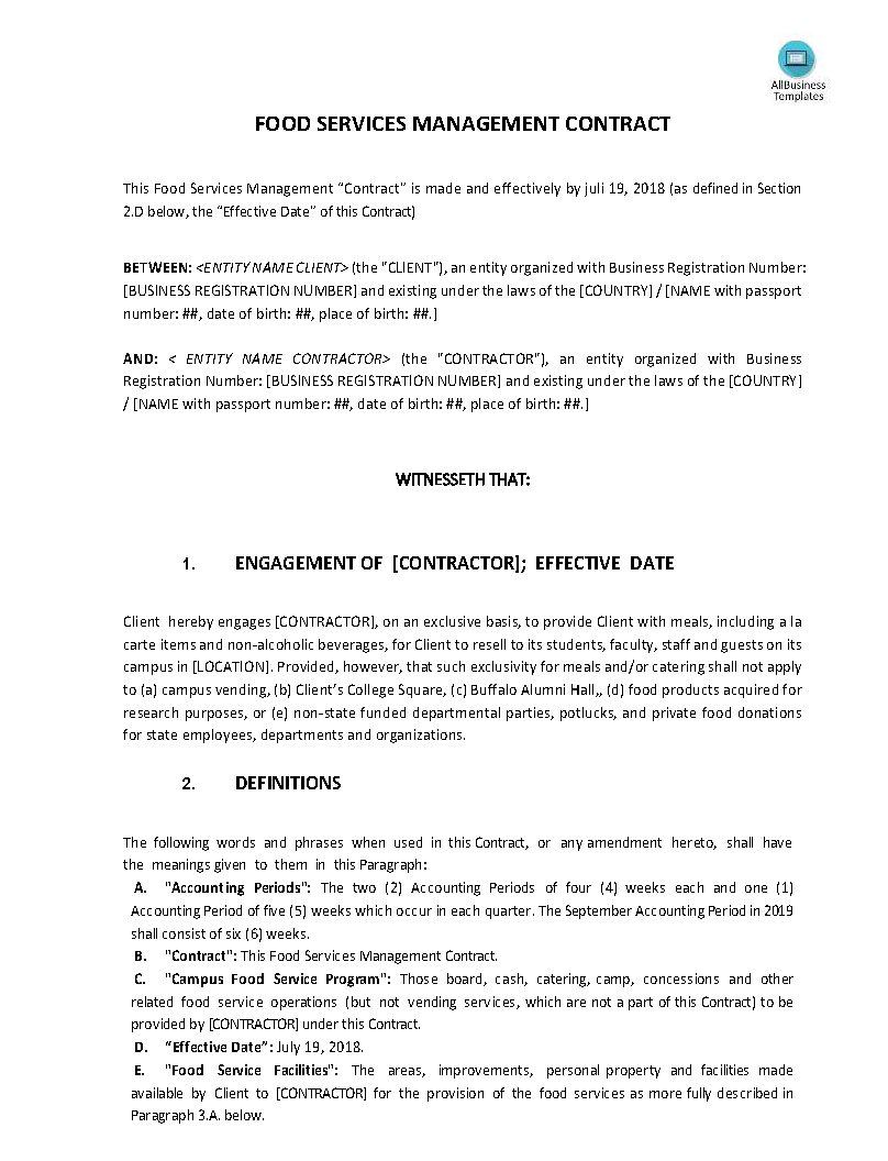 Food Service Management Contract  Templates At Pertaining To Business Management Contract Template