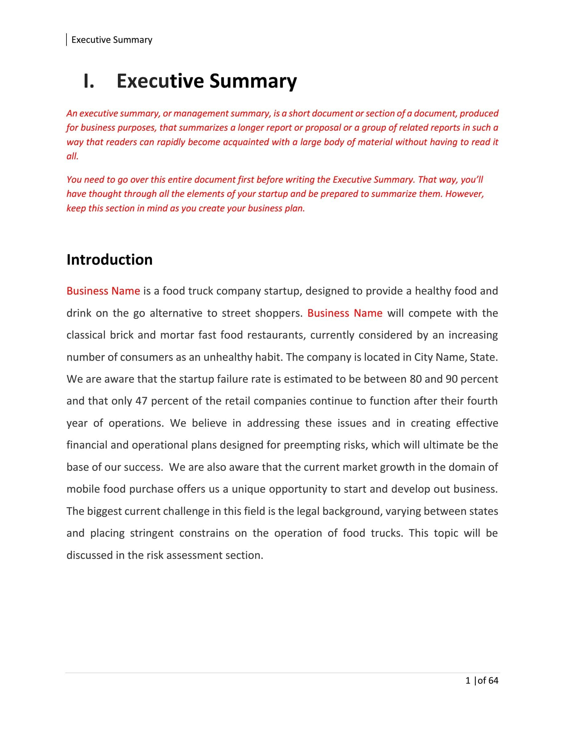 Food Truck Business Plan Template Sample Pages  Black Box Business For Business Plan Template Food Truck