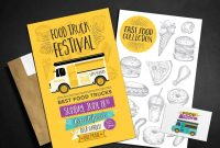 Food Truck Menu Template With Food Illustrations For Party pertaining to Food Truck Menu Template