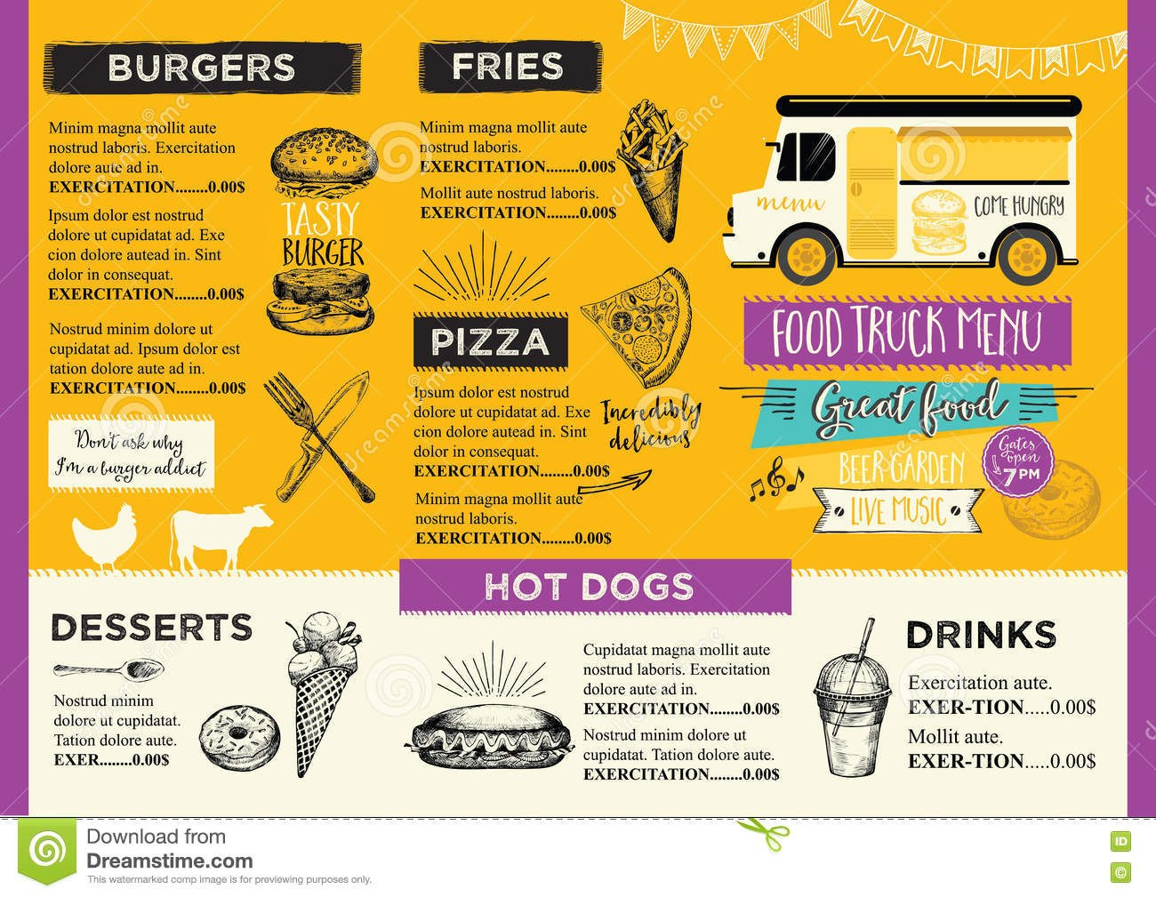 Food Truck Party Invitation Food Menu Template Design Food Fly Intended For Food Truck Menu Template