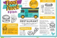 Food Truck Party Invitation Food Menu Template Design Stock Vector intended for Food Truck Menu Template