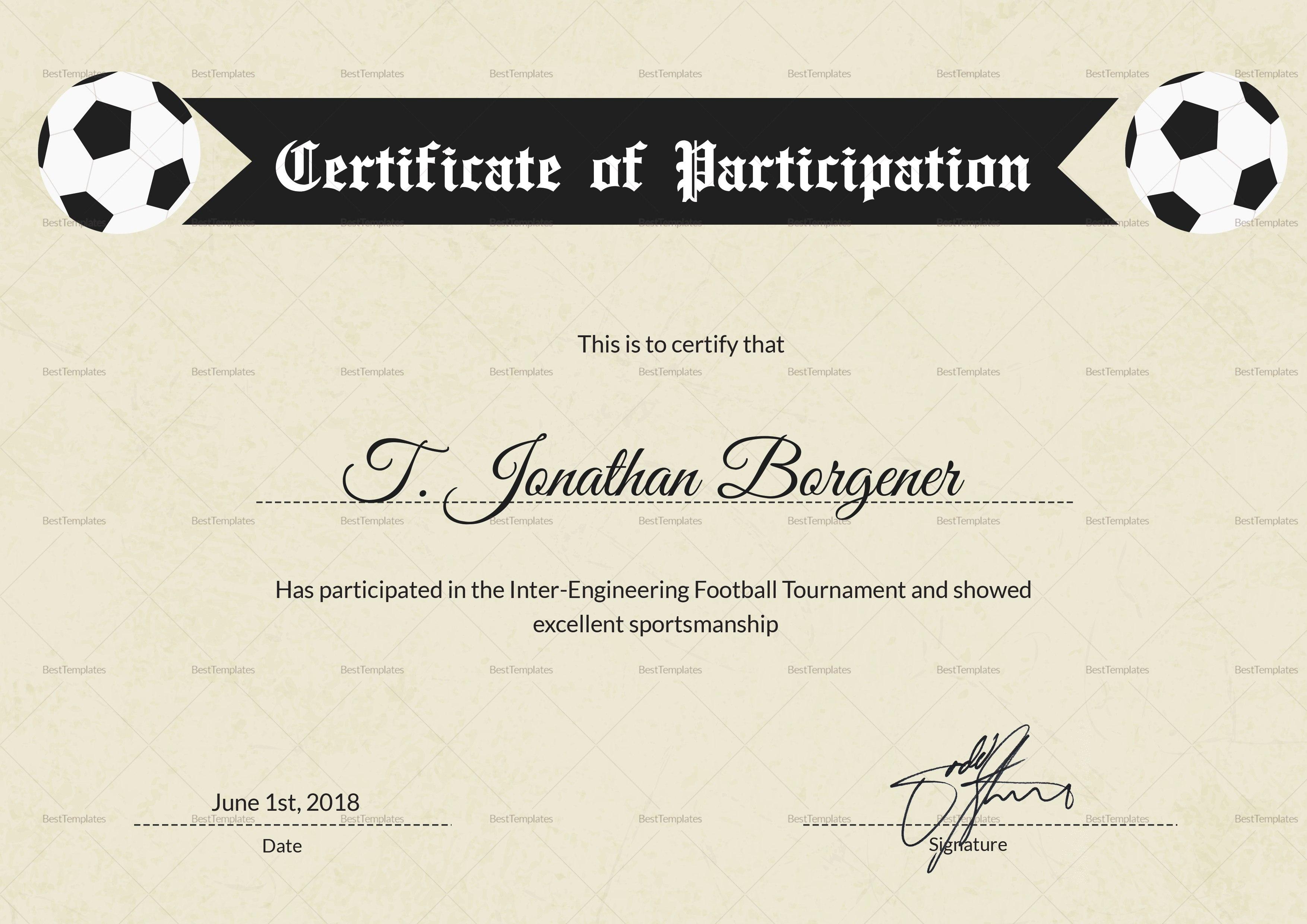 Football Certificate Templates Brochure Free Fantasy Award Template Regarding Sports Day Certificate Templates Free