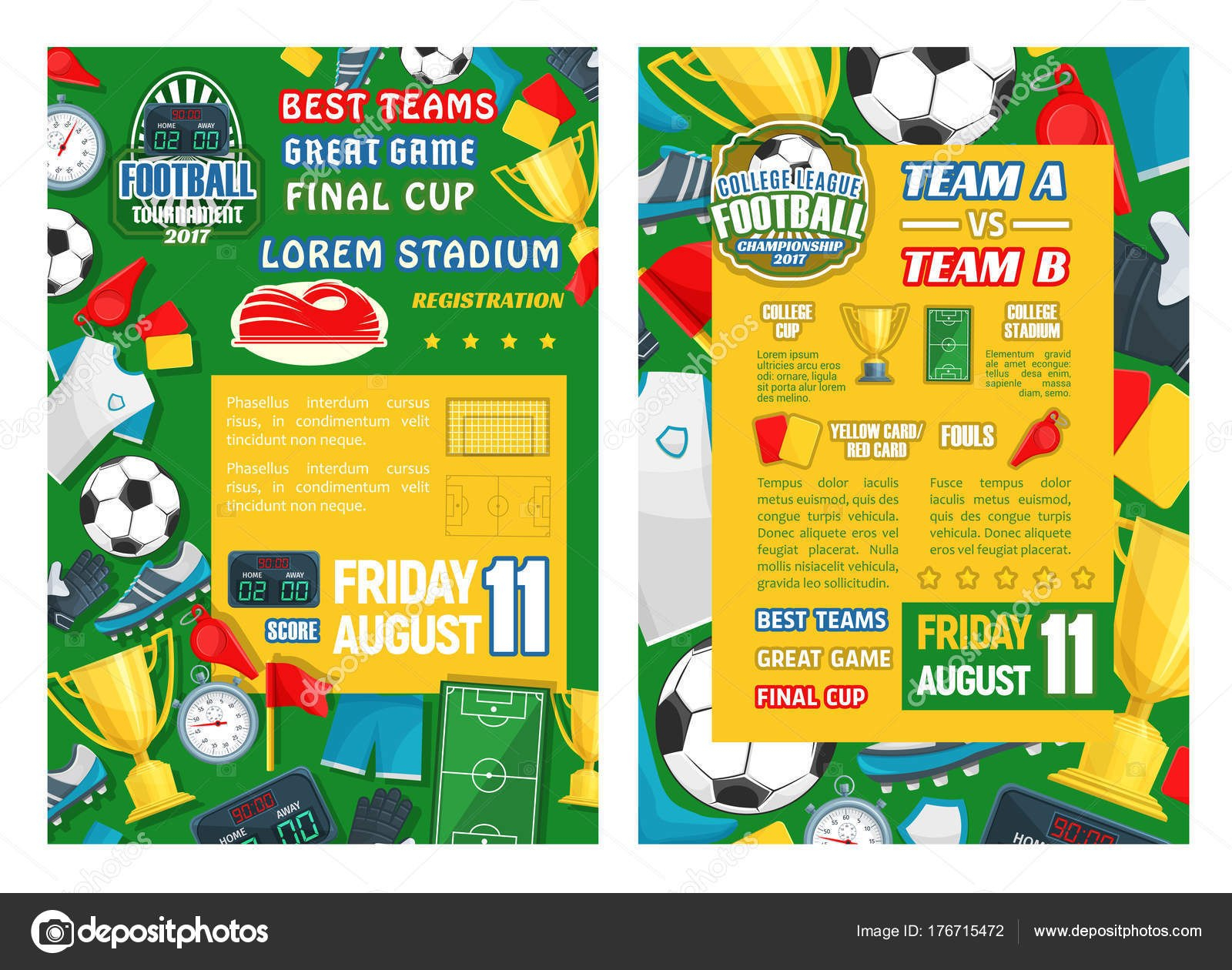 Football Or Soccer Sport Tournament Match Banner — Stock Vector In Football Referee Game Card Template