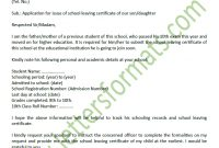Formal Letter To Principal For School Leaving Certificate Sample with regard to School Leaving Certificate Template
