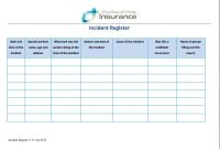 Forms  Churches Of Christ Insurance pertaining to Incident Report Register Template