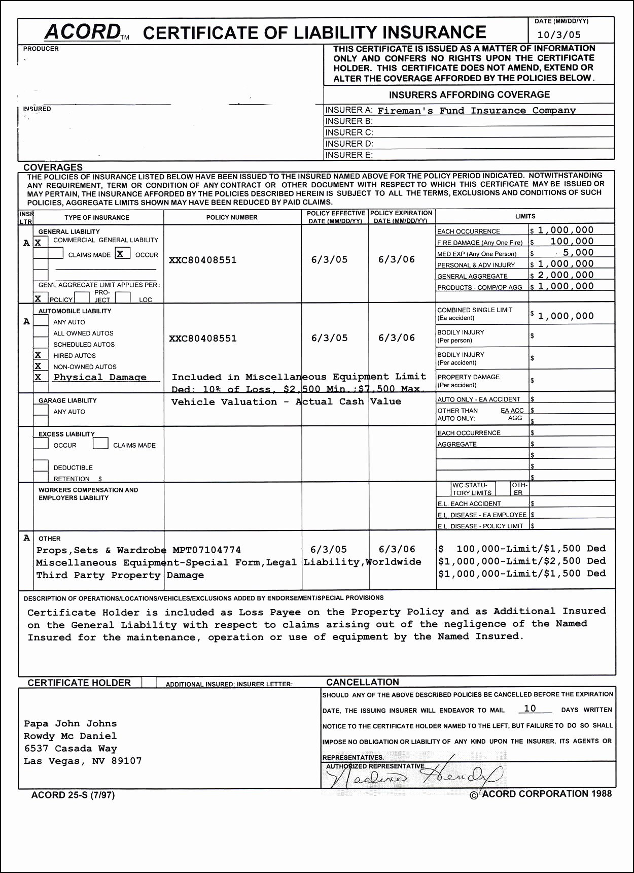 Free Acord Certificate Of Liabilitynce Form Lovely Template Pertaining To Certificate Of Insurance Template