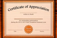 Free Appreciation Certificate Templates Supplier Contract Template throughout Word 2013 Certificate Template
