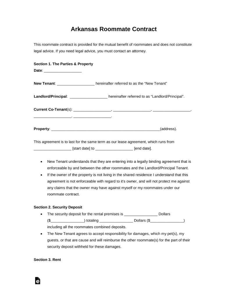 Free Arkansas Roommate Room Rental Agreement  Pdf  Word  Eforms With Regard To Bedroom Rental Agreement Template