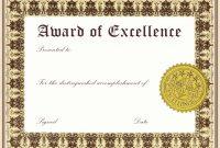 Free Award Certificate Templates  Culturatti with Award Of Excellence Certificate Template
