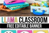 Free Banner For The Classroom  Llama Classroom Decor  The for Classroom Banner Template