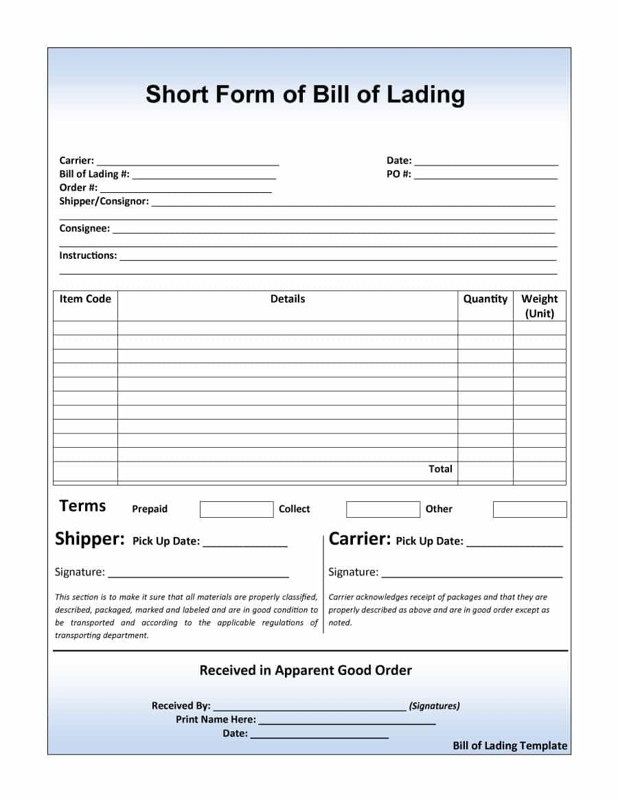 Free Bill Of Lading Forms  Templates ᐅ Template Lab For Blank Bol Template