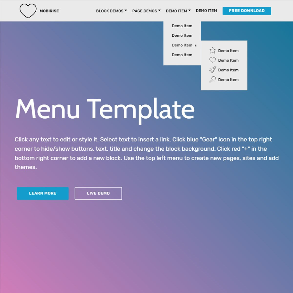 Free Bootstrap  Template Intended For Free Css Navigation Menu Templates