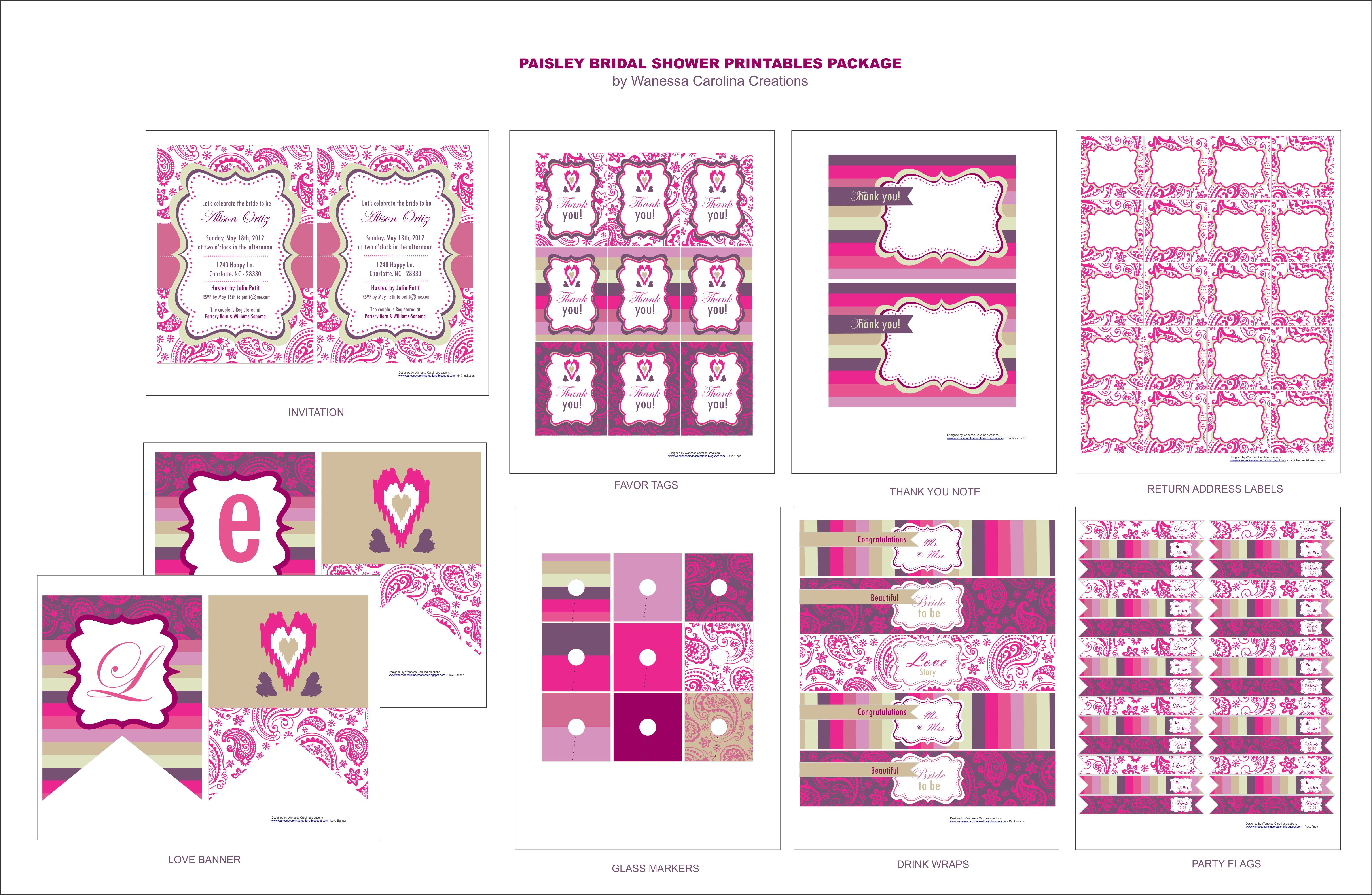 Free Bridal Shower Printables From Wanessa Carolina Creations Inside Free Bridal Shower Banner Template