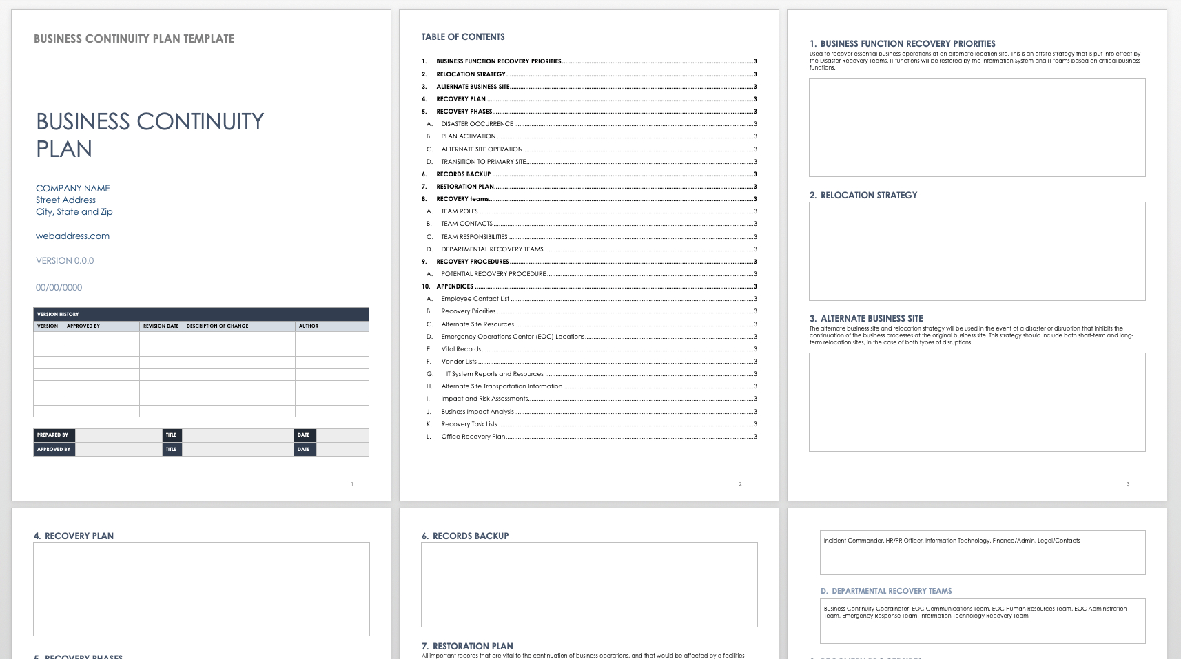 Free Business Continuity Plan Templates  Smartsheet In Business Continuity Plan Template Canada