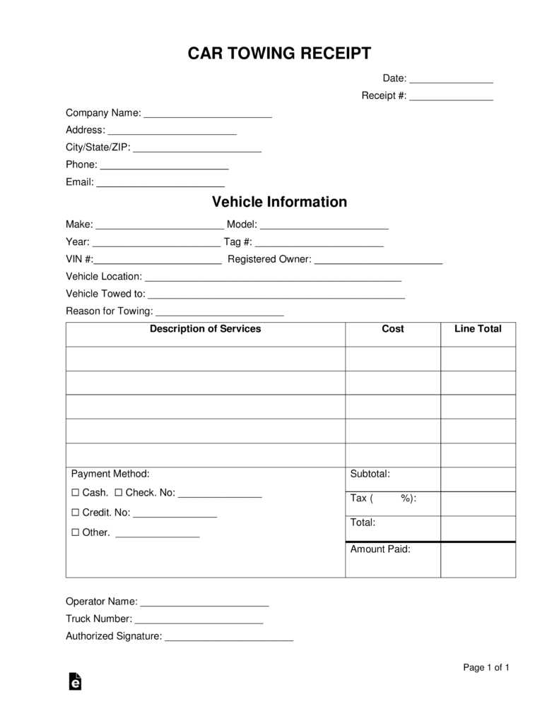 Free Car Towing Receipt Template  Word  Pdf  Eforms – Free With Towing Service Invoice Template