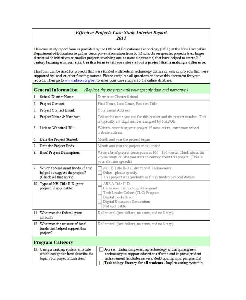 Free Case Study Templates   Case Study Format Examples Throughout Case Report Form Template