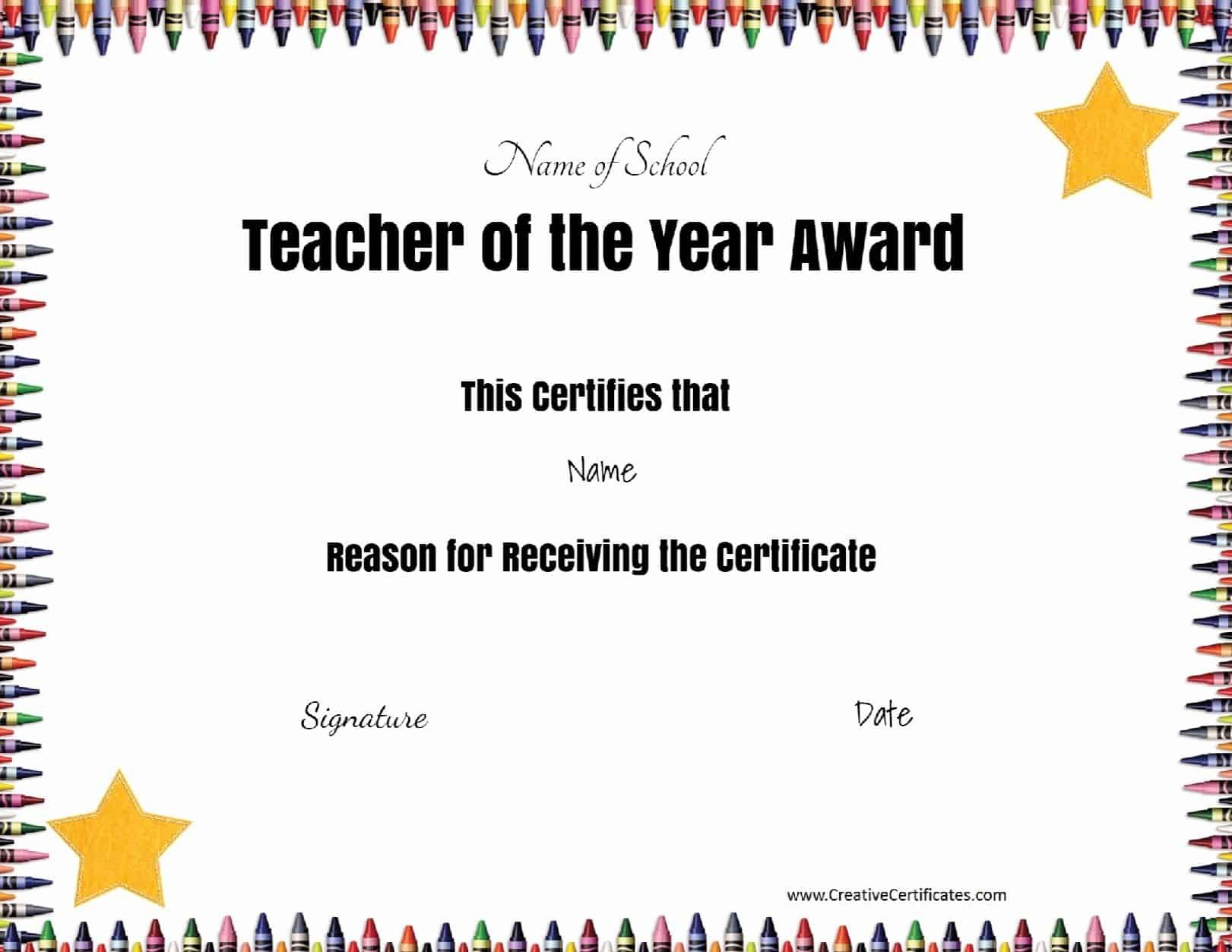 Free Certificate Of Appreciation For Teachers  Customize Online Pertaining To Teacher Of The Month Certificate Template