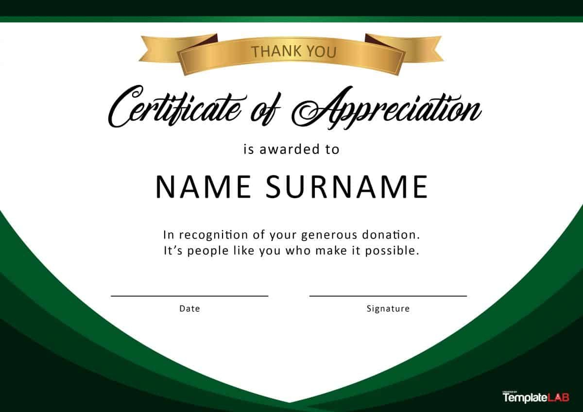 Free Certificate Of Appreciation Templates And Letters In Certificate Of Appreciation Template Free Printable