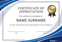Free Certificate Of Appreciation Templates And Letters intended for Certificate Of Recognition Word Template