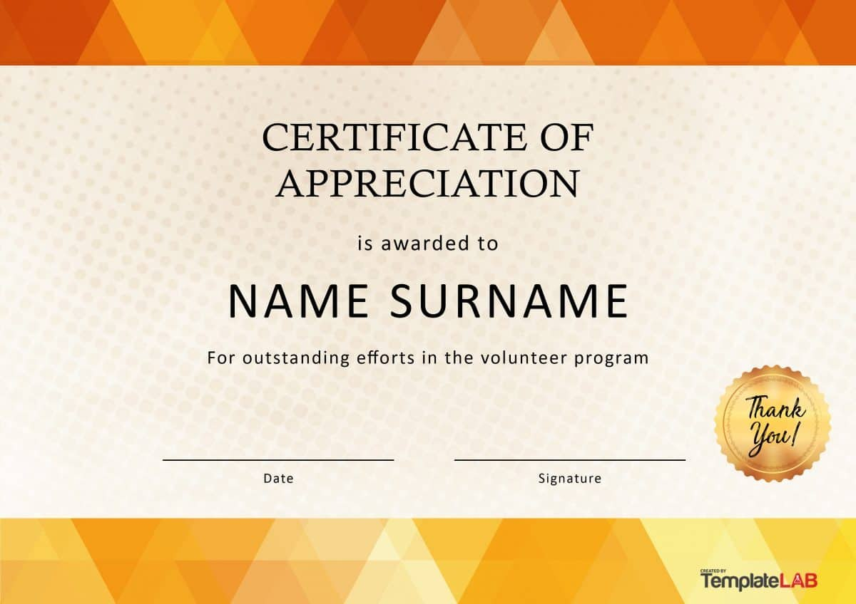 Free Certificate Of Appreciation Templates And Letters Intended For Volunteer Certificate Templates