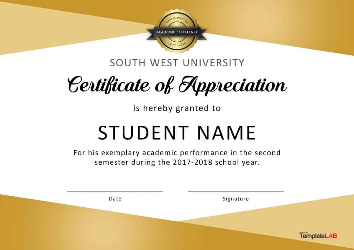 Free Certificate Of Appreciation Templates And Letters Pertaining To Free Student Certificate Templates