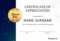 Free Certificate Of Appreciation Templates And Letters regarding Volunteer Award Certificate Template