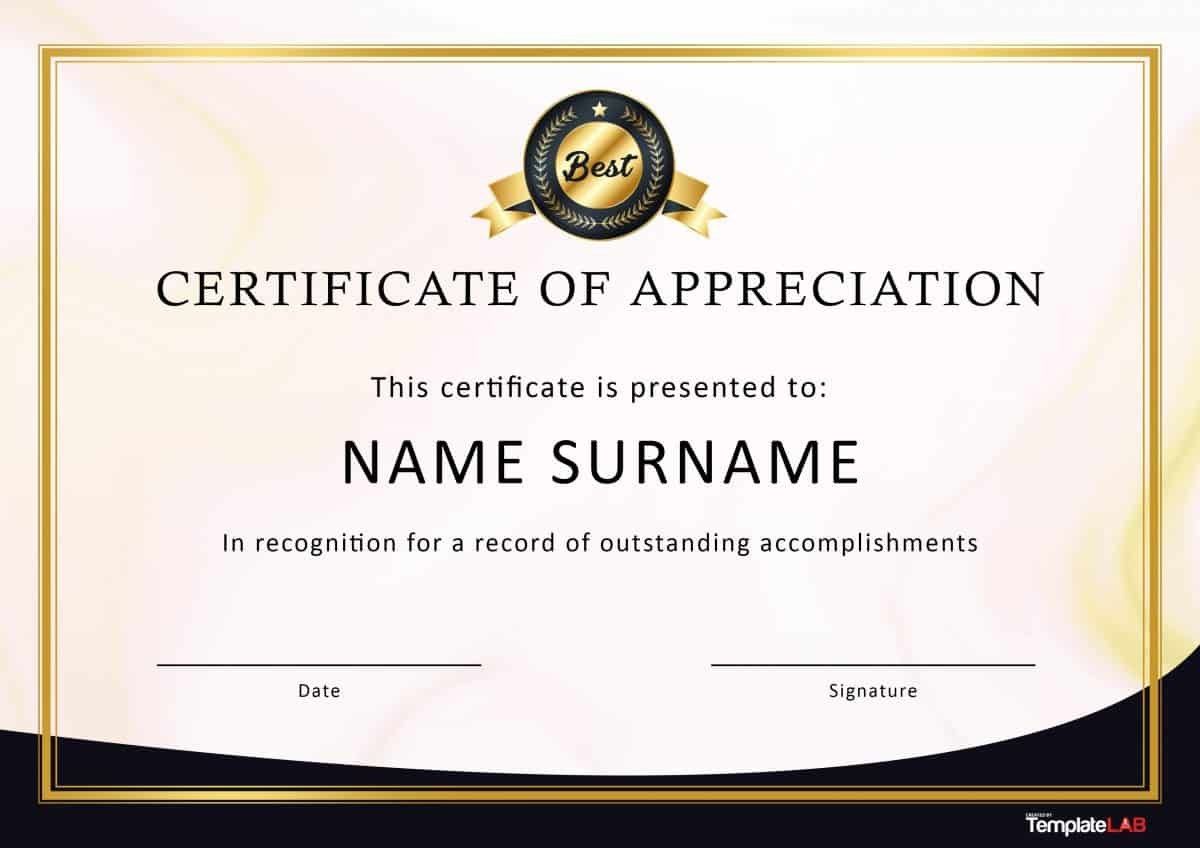 Free Certificate Of Appreciation Templates And Letters With Regard To Thanks Certificate Template