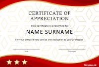 Free Certificate Of Appreciation Templates And Letters within Employee Recognition Certificates Templates Free