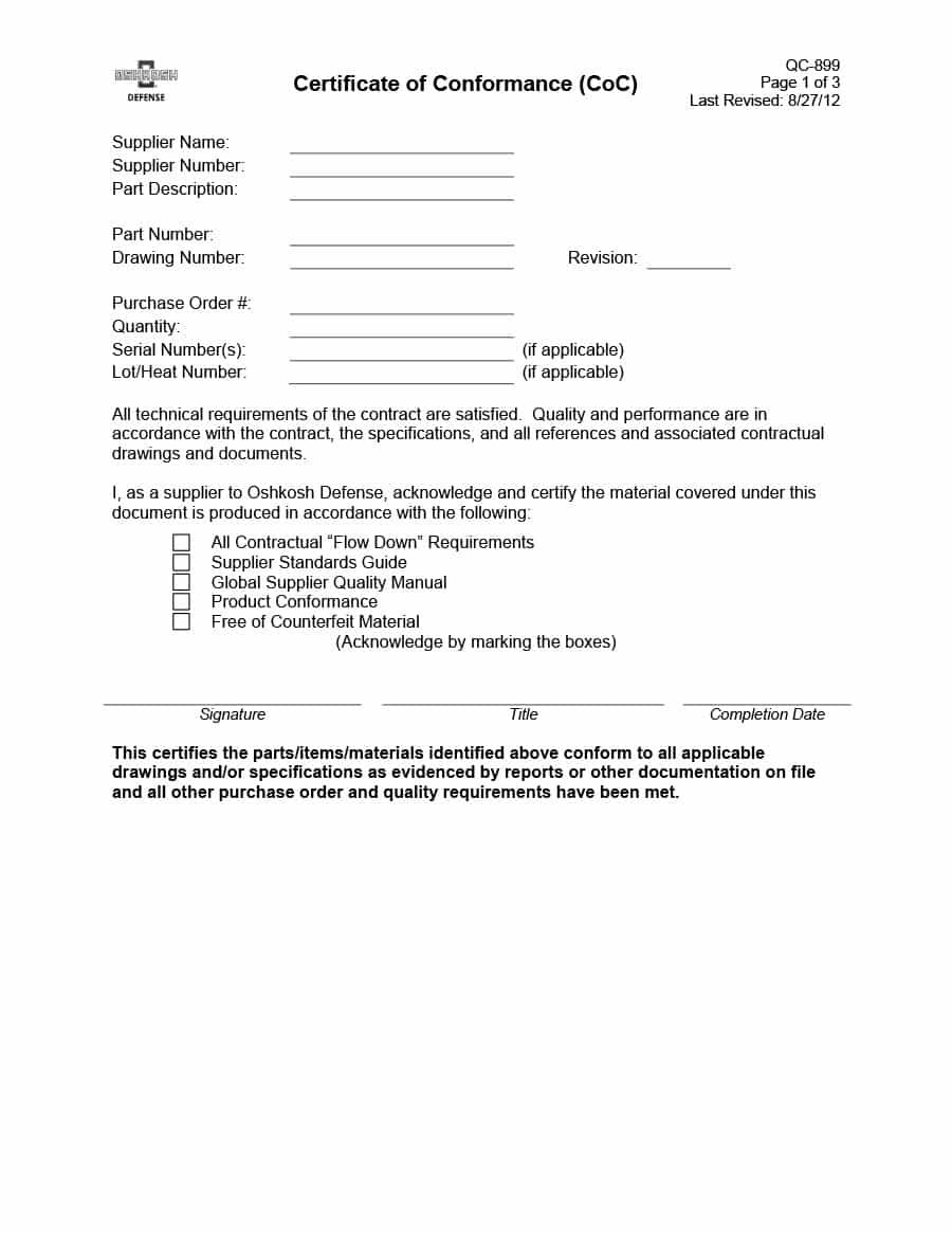 Free Certificate Of Conformance Templates  Forms ᐅ Template Lab Intended For Certificate Of Conformity Template Free