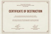Free Certificate Of Destruction  Free Certificate Templates  Free inside Free Certificate Of Destruction Template