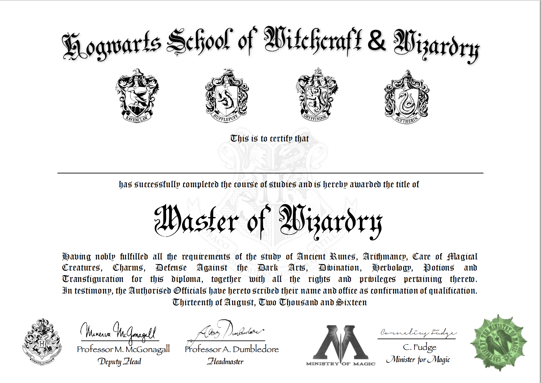 Free Certificate Of Hogwarts To Download And Use  Harry Potter Within Harry Potter Certificate Template