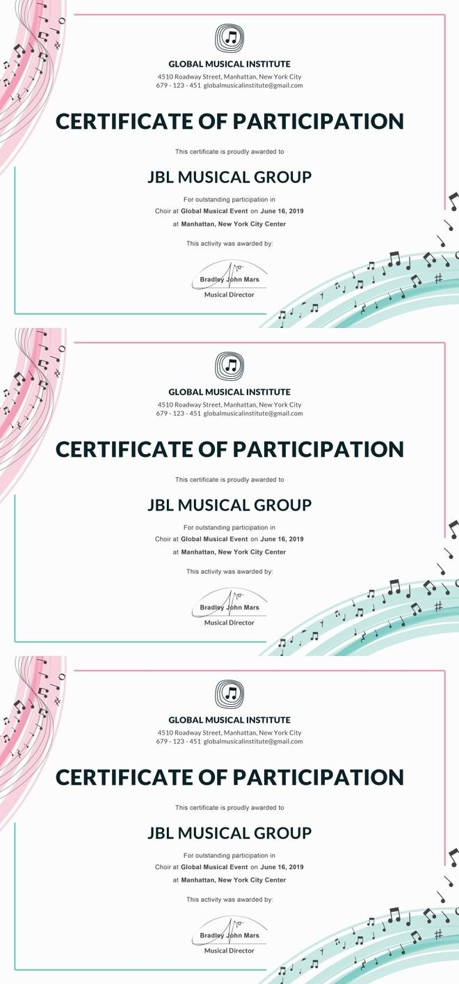 Free Choir Certificate Of Participation  Note  Certificate Of Within Templates For Certificates Of Participation