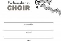 Free Choir Certificate Of Participation Templates  Pdf  Free for Free Templates For Certificates Of Participation