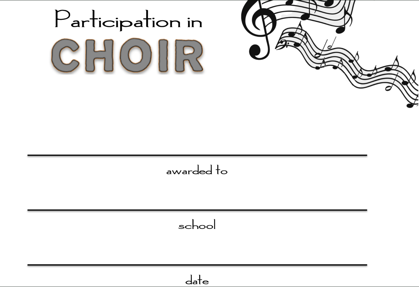 Free Choir Certificate Of Participation Templates  Pdf  Free With Choir Certificate Template
