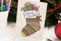 Free Christmas Coloring Card  Sarah Renae Clark  Coloring Book regarding Diy Christmas Card Templates