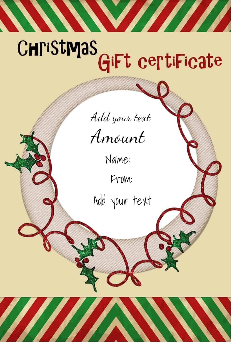 Free Christmas Gift Certificate Template  Customize Online  Download Throughout Homemade Christmas Gift Certificates Templates
