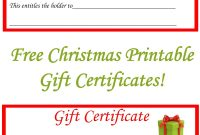 Free Christmas Printable Gift Certificates  Projects To Try intended for Homemade Christmas Gift Certificates Templates