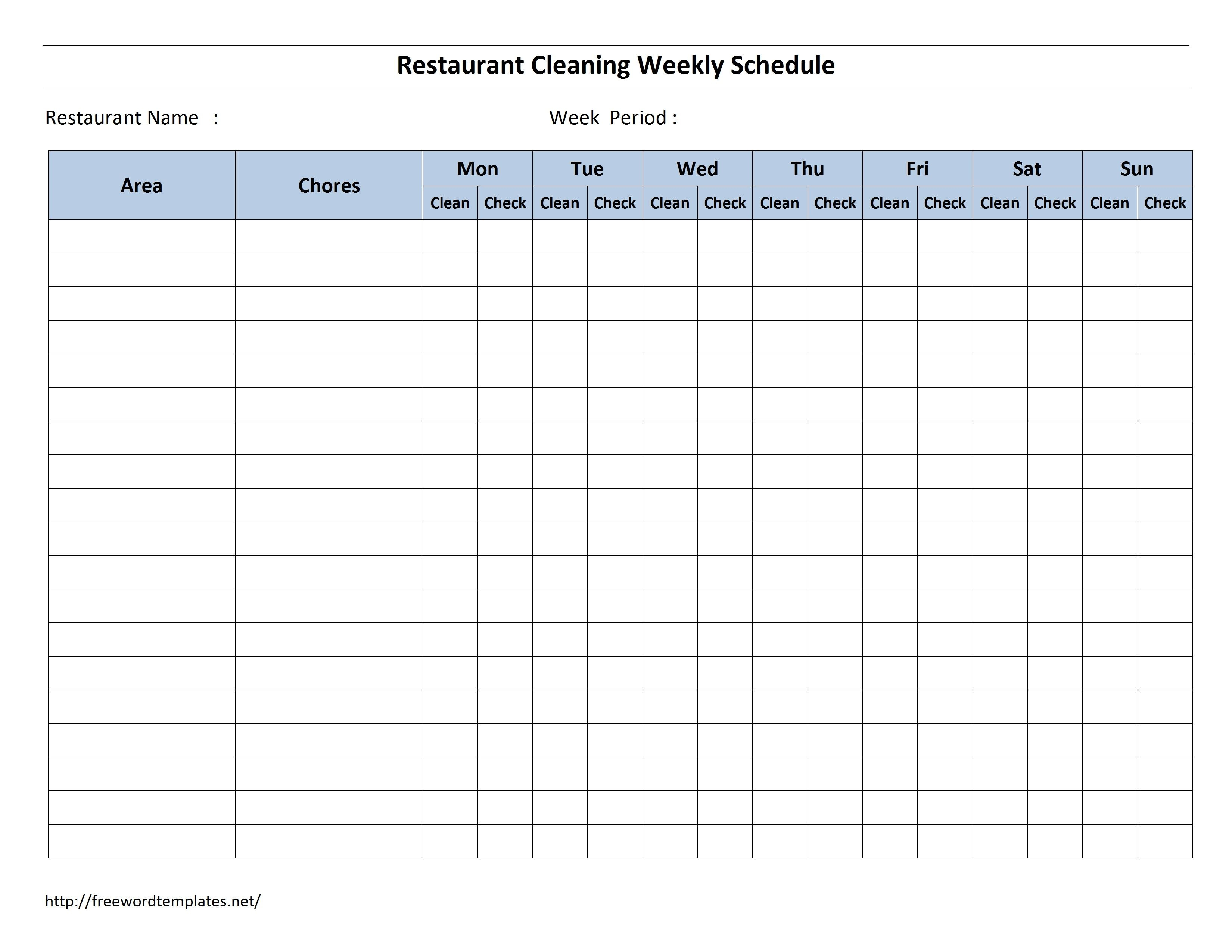 Free Cleaning Schedule Forms  Excel Format And Payroll Areas For Throughout Blank Cleaning Schedule Template