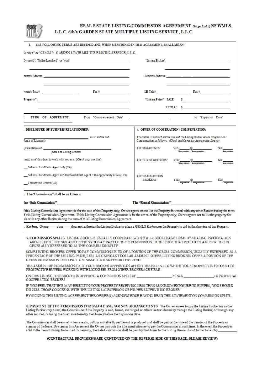 Free Commission Agreements Sales Real Estate Contractor In Real Estate Commission Split Agreement Template