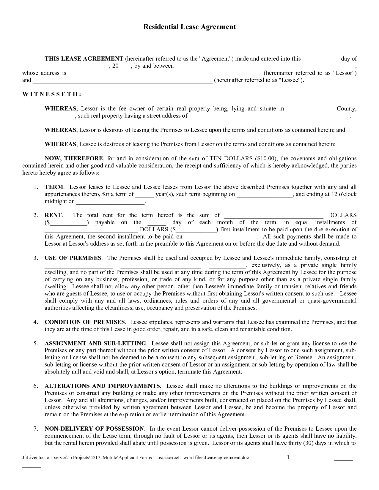 Free Copy Rental Lease Agreement  Free Printable Lease Agreement In Free Printable Residential Lease Agreement Template