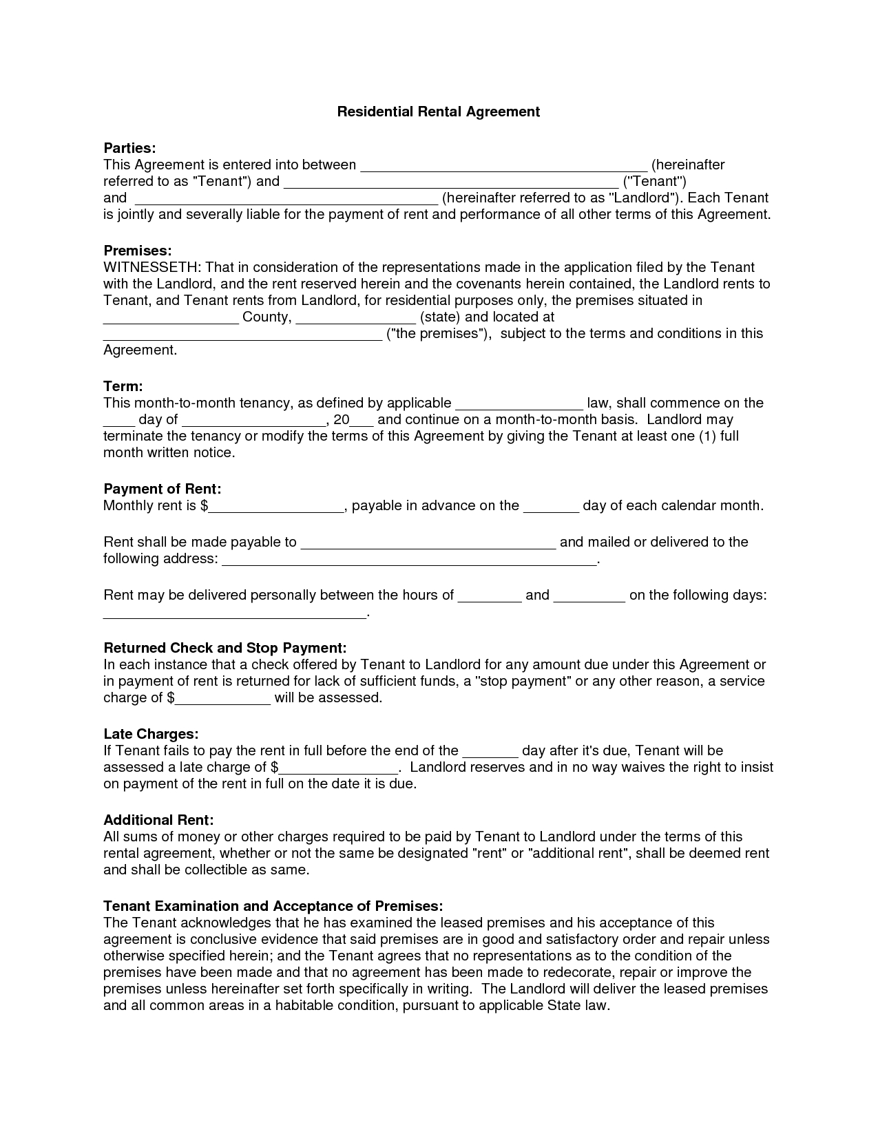 Free Copy Rental Lease Agreement  Residential Rental Agreement Pertaining To Free Residential Lease Agreement Template