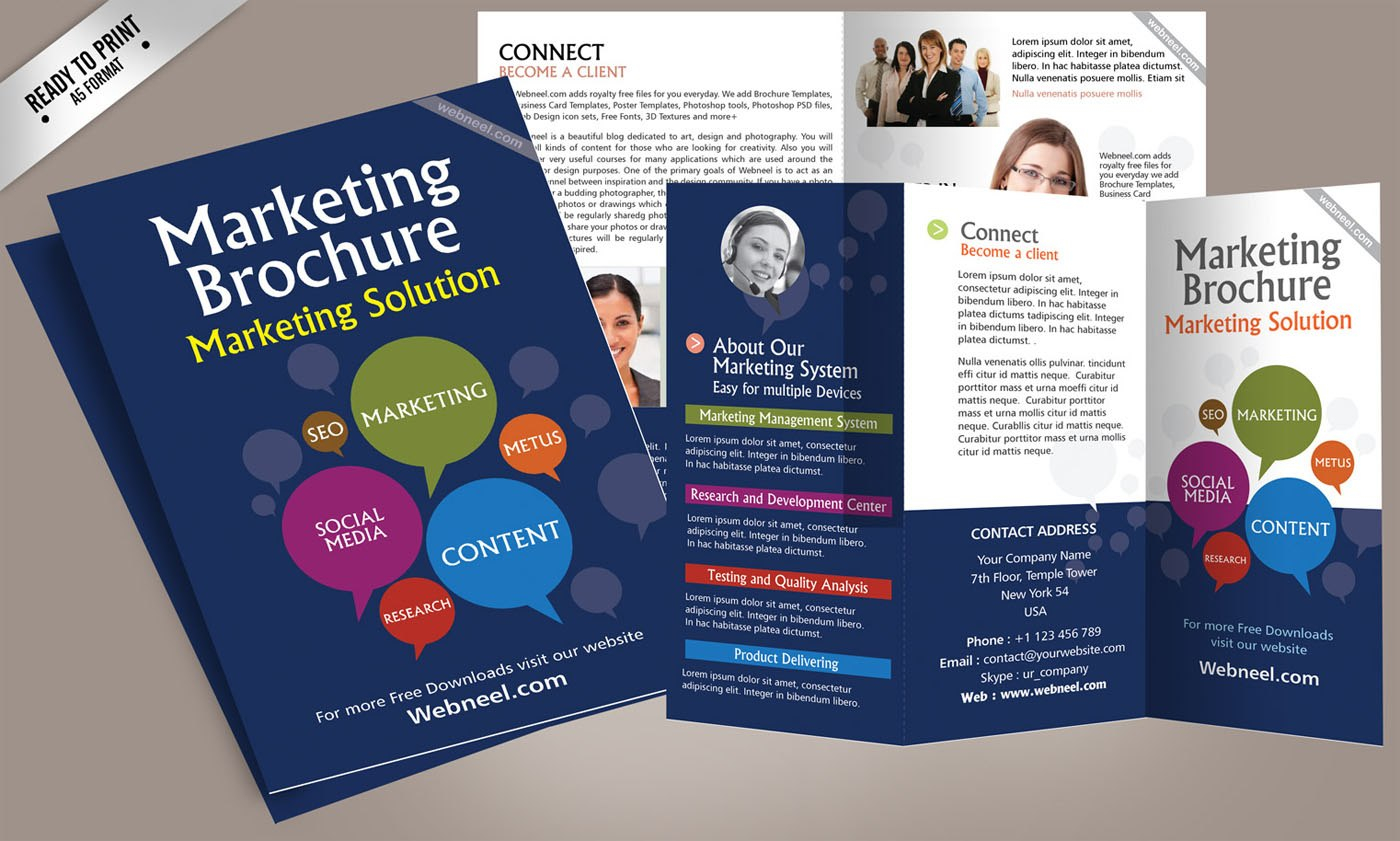 Free Corporate Bifold And Trifold Brochure Templates  Free For Ai Brochure Templates Free Download