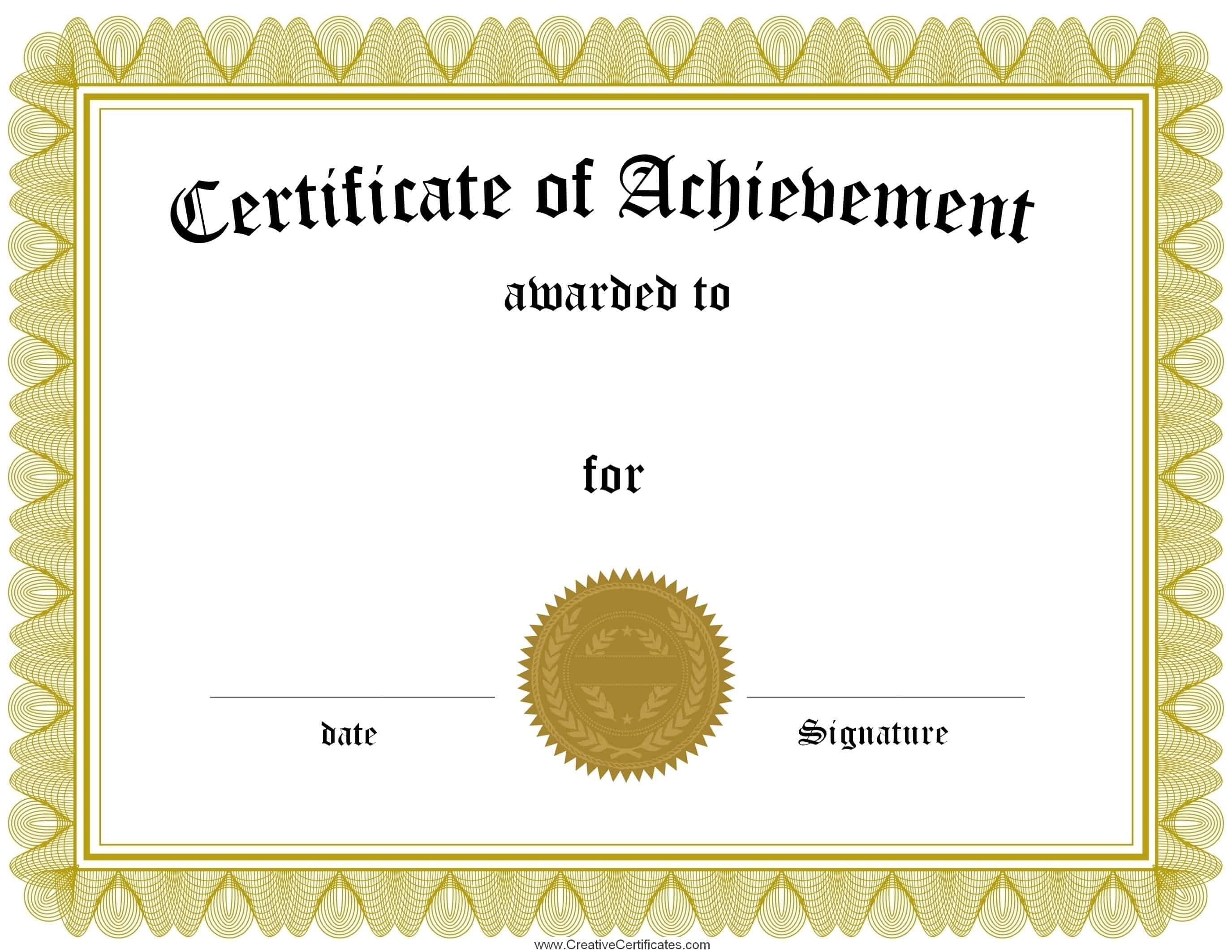 Free Customizable Certificate Of Achievement Inside Certificate Of Accomplishment Template Free
