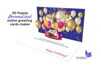 Free D Pop Up Online Greeting Card Maker  Tridivi™ for Happy Birthday Pop Up Card Free Template