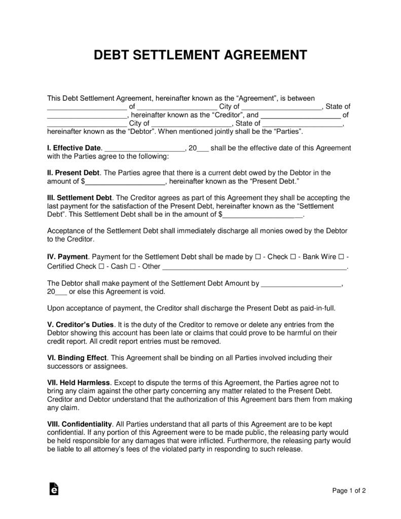 Free Debt Settlement Agreement Template  Sample  Word  Pdf Regarding Free Debt Settlement Agreement Template
