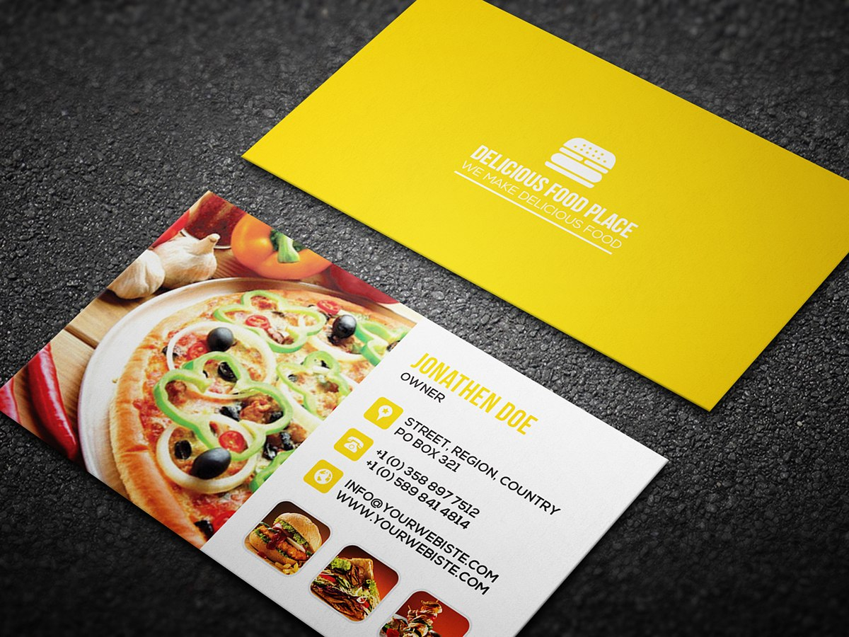 Free Delicious Food Business Card On Behance Intended For Food Business Cards Templates Free