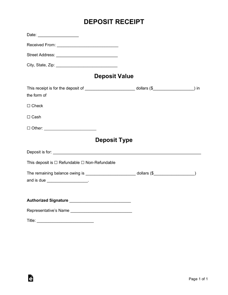 Free Deposit Receipt Templates  Word  Pdf  Eforms – Free Fillable Throughout Non Refundable Deposit Agreement Template
