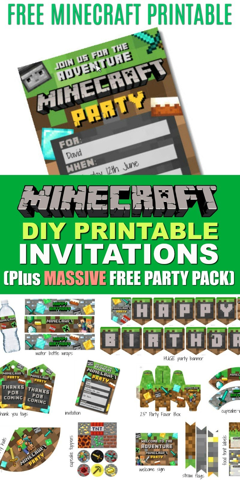Free Diy Printable Minecraft Birthday Invitation  Clean Eating With Pertaining To Minecraft Birthday Card Template