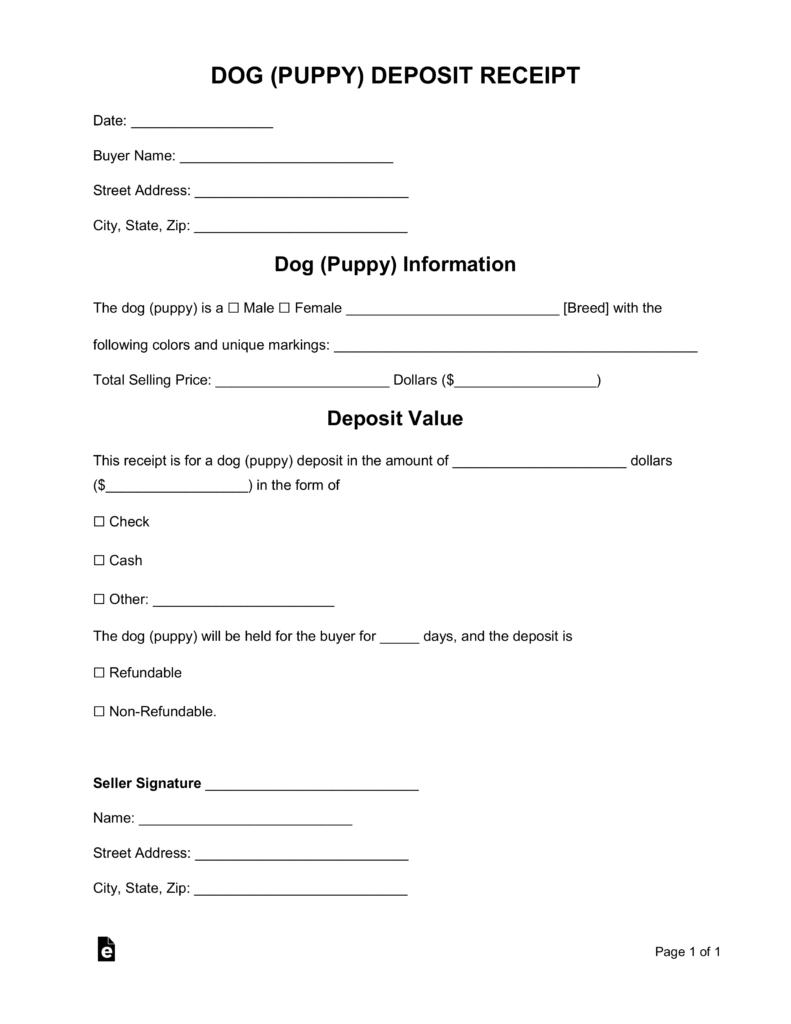 Free Dog Puppy Deposit Receipt Template  Word  Pdf  Eforms Regarding Puppy Contract Templates