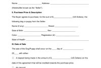 Free Dogpuppy Bill Of Sale Form  Word  Pdf  Eforms – Free In Vendor Take Back Agreement Template
